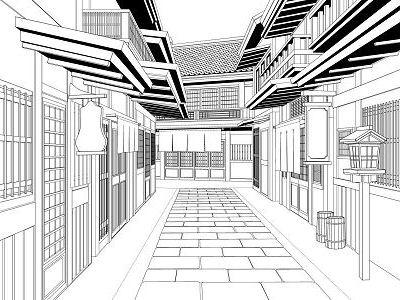 [ケムケム工房] の【マンガのための背景素材「SET&BLOCK」和風建物】