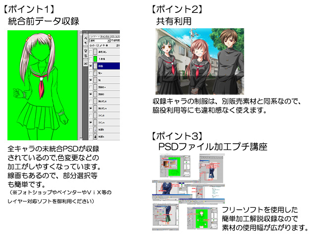 [BlueForest] の【ゲーム制作用立ち絵素材集 Vol.6女子制服編2】