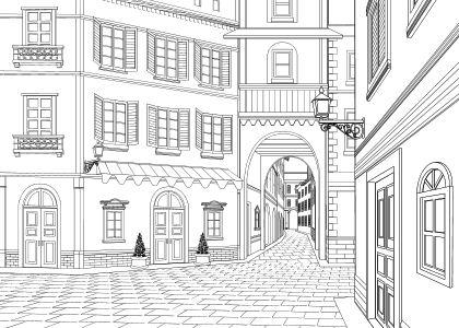 [ケムケム工房] の【マンガのための背景素材「SET&BLOCK」西洋風建物2(街並み)】