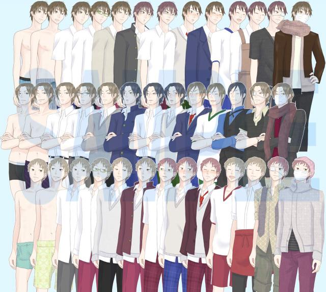 [華餅] の【男の子6人立ち絵素材】
