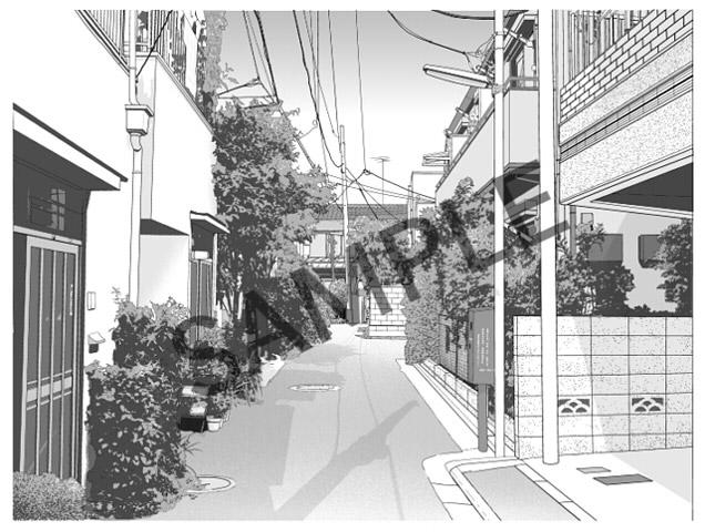 [コミックツール製作所] の【漫画用背景素材集 [smdb-001]街並み・住宅街】