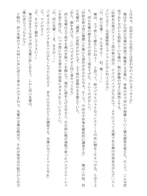 [メディレクト] の【某大学アメフト部体験記 肉奴隷主将1~新主将・肉奴隷任命式】