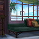背景素材「本棚と長椅子のある室内」
