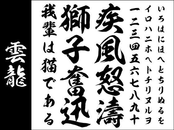 【Win版/Mac版毛筆フォントパック】高解像度「雲龍」【筆文字】 【昭和書体】の紹介画像