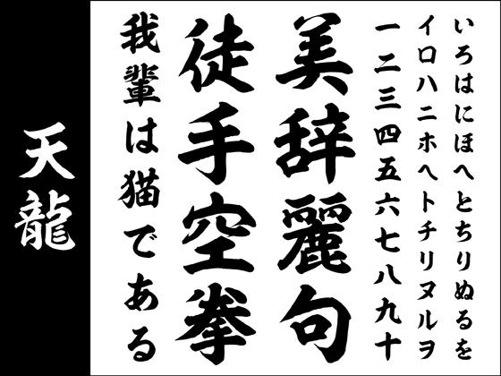 【Win版/Mac版毛筆フォントパック】高解像度「天龍」【筆文字】 【昭和書体】の紹介画像